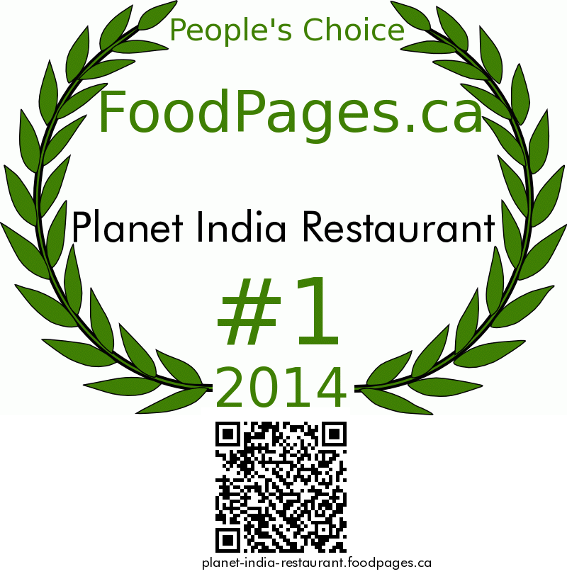 Planet India Restaurant FoodPages.ca 2014 Award Winner
