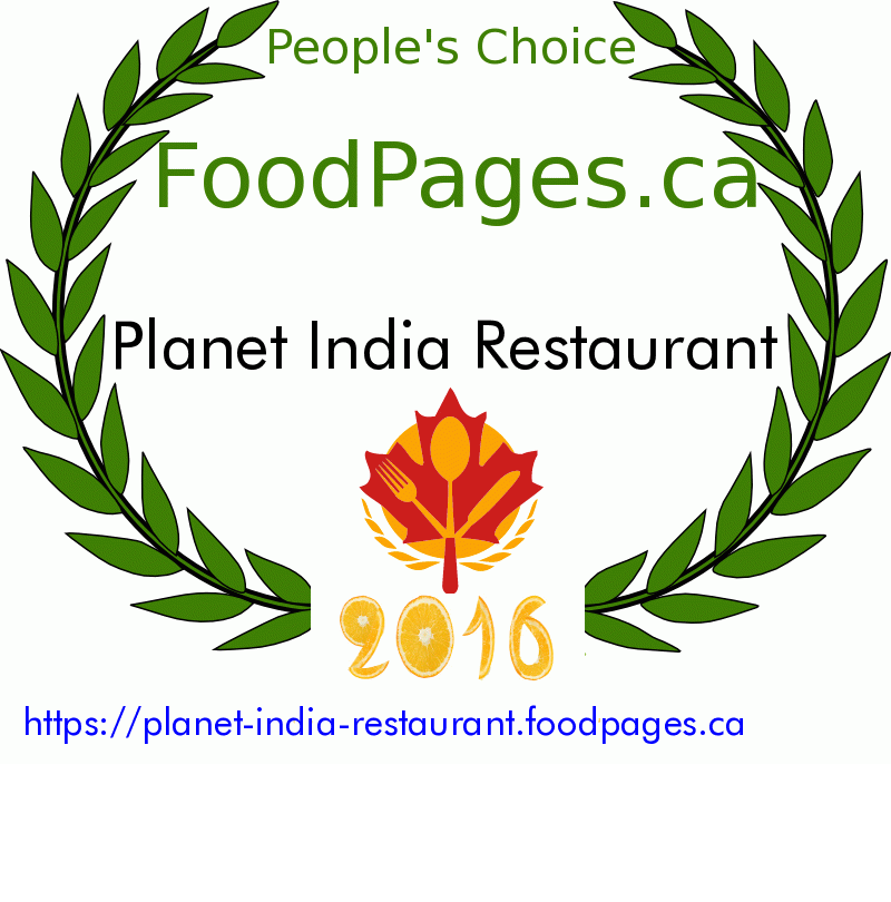 Planet India Restaurant FoodPages.ca 2016 Award Winner
