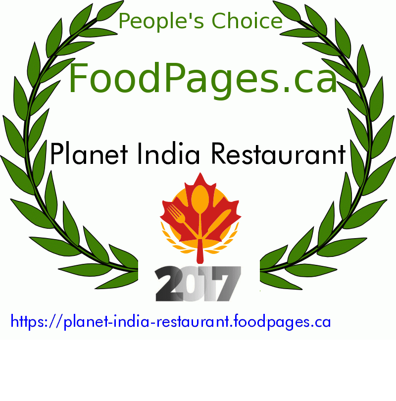 Planet India Restaurant FoodPages.ca 2017 Award Winner